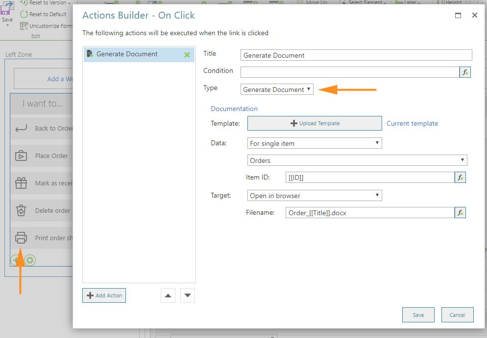 Action Buider generate document