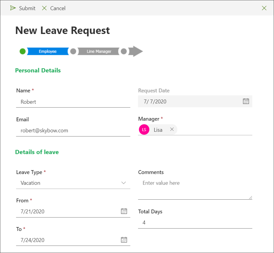 New leave request form