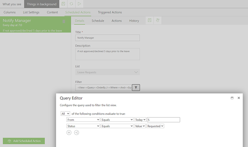 skybow Scheduled Actions Filter - Query Editor