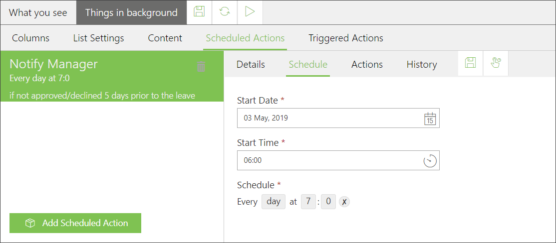 skybow Scheduled Actions - scheduling options