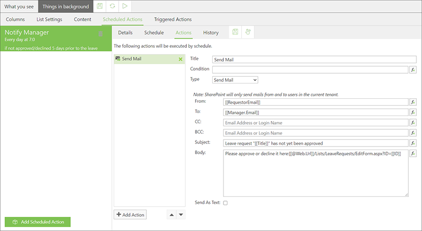 skybow Scheduled Actions - Action builder