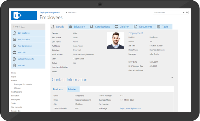 Create a Employee Management App - Start from a template.