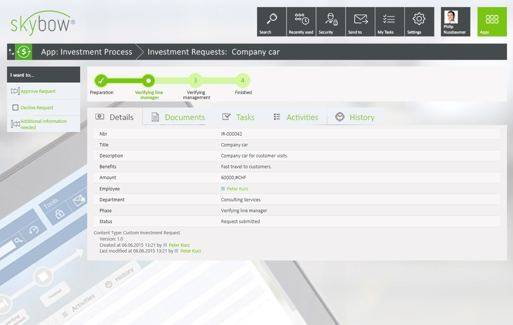 skybow User Interface