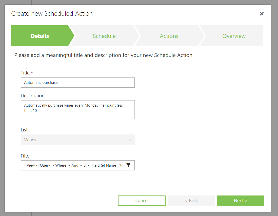 Create new Scheduled Action in skybow Solution Studio Online