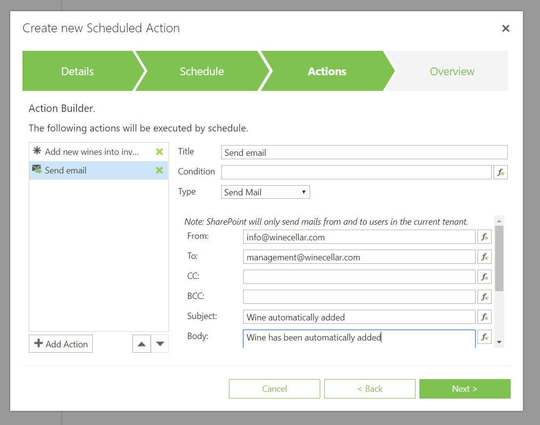 Action which will be executed after scheduling an action