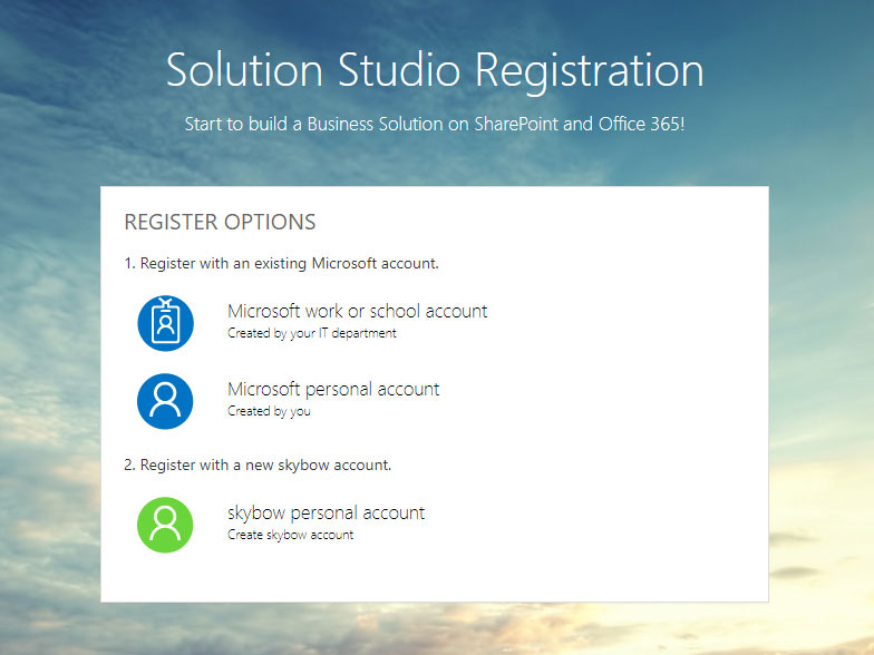 Step 1 - Register and login to Solution Studio