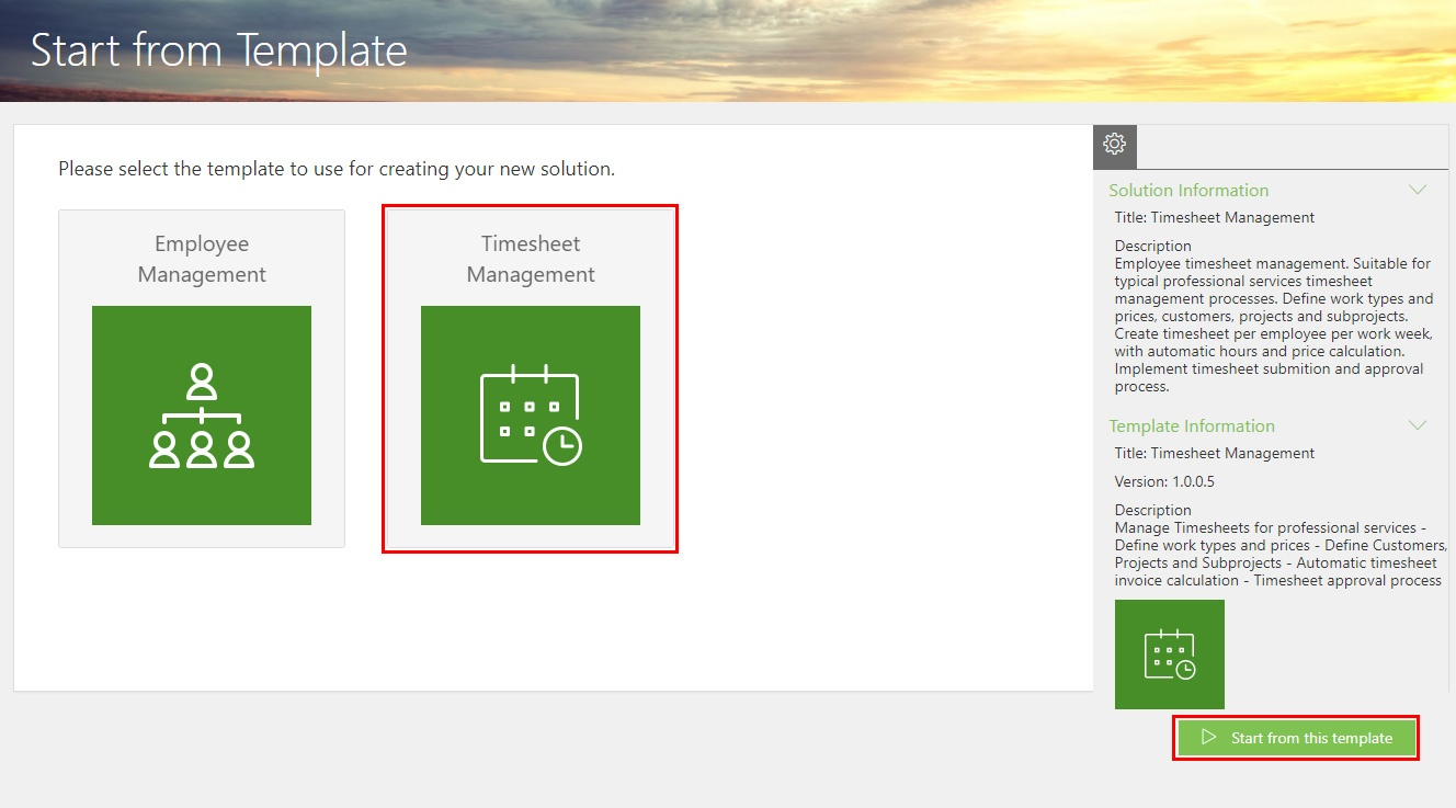 Step 3b - Start from Template Timesheet Mgmt