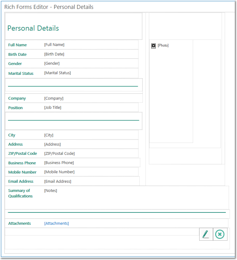 sample personal information form